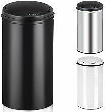 Deuba Sensor Mülleimer 40L Abfalleimer Automatik Müllbehälter Abfallbehälter Edelstahl Papierkorb mit Bewegungssensor schwarz