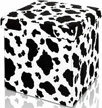 Deuba® Sitzhocker Kuhfell   Wildlederoptik   Maße 38 x 38 x 38 cm   faltbar   Sitzfläche gepolstert - Hocker Aufbewahrungsbox Polsterhocker Sitztruhe