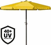 Deuba® Sonnenschirm • 350cm • Aluminium • mit UV-Schutz 40+ • wasserabweisend • gelb - Kurbelschirm Ampelschirm Marktschirm Gartenschirm Terrassenschirm