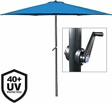 Deuba Sonnenschirm • Aluminium • Ø300cm • mit UV-Schutz • 40+ • inkl. Kurbel + Dachhaube • mit Neigevorrichtung • blau - Kurbelsonnenschirm Marktschirm Gartenschirm