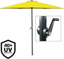 Deuba® Sonnenschirm • Aluminium • Ø300cm • mit UV-Schutz 40+ • inkl. Kurbel + Dachhaube • mit Neigevorrichtung • gelb - Kurbelsonnenschirm Marktschirm Gartenschirm
