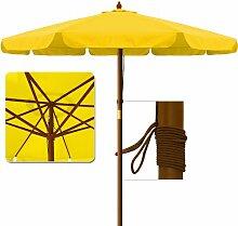 Deuba Sonnenschirm • Holz • Ø 350cm • Gelb • stabile Verstrebungen • wasserabweisend - Gartenschirm Terrassenschirm Marktschirm Holz-Sonnenschirm