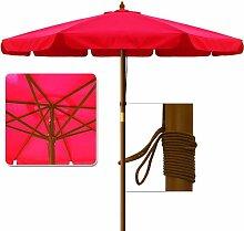 Deuba Sonnenschirm • Holz • Ø 350cm • Rot • stabile Verstrebungen • wasserabweisend - Gartenschirm Terrassenschirm Marktschirm Holz-Sonnenschirm