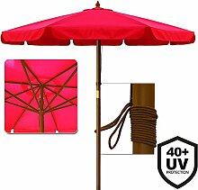Deuba Sonnenschirm • UV-Schutz 40 Plus • Holz • Ø 350cm • Rot • stabile Verstrebungen • wasserabweisend - Gartenschirm Terrassenschirm Marktschirm Holz-Sonnenschirm