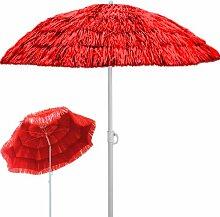 Deuba® Sonnenschirm Hawaii • Ø 160 cm • Neigefunktion • Höhenverstellbar • stabile Verstrebungen • Rot - Gartenschirm Terrassenschirm Balkonschirm Rund Marktschirm Strandschirm