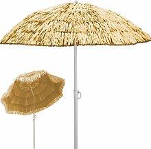 Deuba® Sonnenschirm Hawaii • Ø 160 cm • Neigefunktion • Höhenverstellbar • stabile Verstrebungen • Natur - Gartenschirm Terrassenschirm Balkonschirm Rund Marktschirm Strandschirm