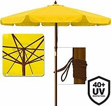 Deuba Sonnenschirm UV-Schutz 40 Plus Holz Ø 330cm