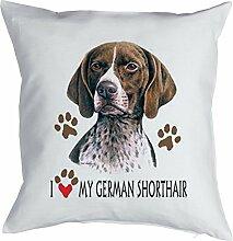 Deutsch Kurzhaar Kissen mit Innenkissen - Geschenk Hundefreund Hundebesitzer - Jäger Jagd Hunde Motiv I love my German Shorthair - Deko u Nutzkissen 40x40cm weiß : )