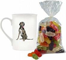 Deutsche Dogge Hund Bild Design Porzellan Keramik Becher mit Jelly Babies