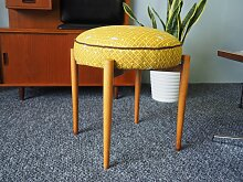 Deutscher Mid-Century Hocker in Gelb