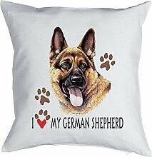 Deutscher Schäferhund - Bezug für Kissen - Geschenk Hundefreund Hundebesitzer - Hunde Motiv I love my German Shepherd - Motiv Kissenhülle Deko 40x40cm weiß : )