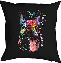 Deutscher Schäferhund - Bezug für Kissen - Hunde Neon Pop Art Motiv - German Shepherd - buntes Hunde Portrait - Motiv Kissenhülle Deko 40x40cm schwarz : )