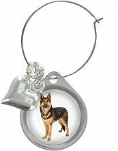 Deutscher Schäferhund Bild Design Weinglas Anhänger mit schicker Perlen
