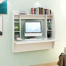 DEVAISE Hölzernen Wandtisch / Schreibtisch / Computertisch / Kinderschreibtisch mit Lagerung, Weiß