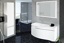 Devo Waschplatz, Hochschrank, Spiegel, Beleuchtung, MDF laminiert mit PVC, Mineralguss, Arctic White Hg, 120 x 80 x 170 cm