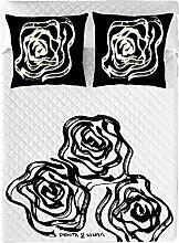 Devota&Lomba Tagesdecke Rosas weiß/schwarz Single