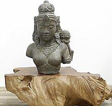 Dewi Tara Büste Stein-Figur Gartenfigur Asiatische Skulptur Buddha Lavastein 52cm