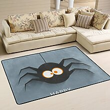 DEYYA Moderne Halloween-Spinnen-Flokati Teppiche