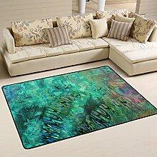DEYYA Moderne Pfau-Feder-Flokati Teppiche für