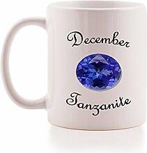 """Dezember Tansanit Geburt Stein Geschenk Tasse. Brilliant Geschenkidee für jeden geboren im Monat december- """"""""Dezember, Tansanit"""""""" Qualität Keramik Tasse"""