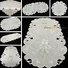Dezente Weihnachten Tischdecke Mitteldecke Set Weiß mit Silber Kerze Stickerei (ca. 85x85 cm Eckig)