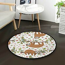DEZIRO Cartoon Brown Faultier-Teppich, rund,
