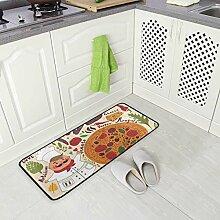 DEZIRO Cartoon Chef und Pizza, Fußmatte, Teppich,