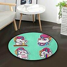 DEZIRO Einhorn-Fußmatte, rund, rutschfest, für