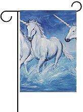 DEZIRO Einhorn Pferdehofflagge Garten-Flagge