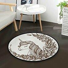 DEZIRO Einhorn SketchRound Fußmatte Teppich