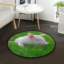 DEZIRO Ferkel auf grünem Grasrunder Teppich
