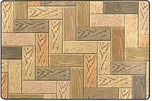 DEZIRO Fußmatte aus Holz, Parkett, Polyester,