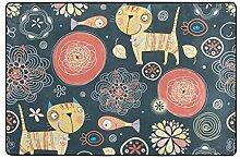 DEZIRO Fußmatte Katze mit Fisch, Polyester,