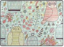 DEZIRO Fußmatte mit Eulen und Vogelkäfig, für