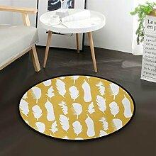 DEZIRO Fußmatte mit Federn, rund, rutschfest,