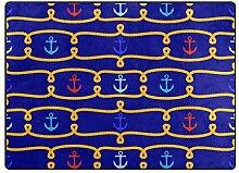 DEZIRO Fußmatte mit nautischem Motiv, Rot/Blau,