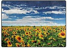 DEZIRO Fußmatte mit Sonnenblumenfeld-Motiv, für