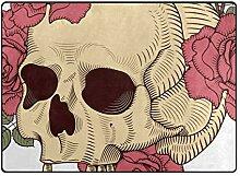 DEZIRO Fußmatte mit Totenkopf- und Rosenmuster,