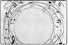 DEZIRO Fußmatte, rund, mit Musiknote, Polyester,