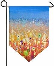 DEZIRO Garten-Flagge, abstraktes Blumenfeld,