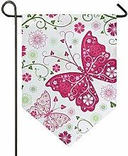 DEZIRO Garten-Flagge, Blumen-Schmetterling,