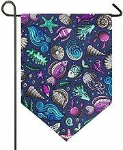 DEZIRO Garten-Flagge, Bunte Muscheln und Fische