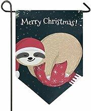 DEZIRO Garten-Flagge, Cartoon, Weihnachtsfaultier,