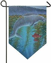 DEZIRO Garten-Flagge, Cooles Meereskuh mit roten