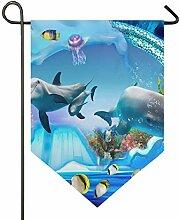 DEZIRO Garten-Flagge Delphin Pinguin Gelee