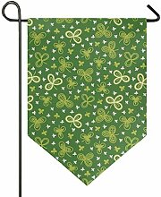 DEZIRO Garten-Flagge, Glückskleeblatt, vertikal,