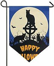 DEZIRO Garten-Flagge, Halloween, Schwarze Katzen