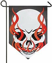 DEZIRO Garten-Flagge mit brennendem Totenkopf,