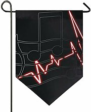 DEZIRO Garten-Flagge mit Noten, Herzschlag