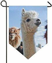 DEZIRO Garten-Flagge, niedliches Llama, weiß,